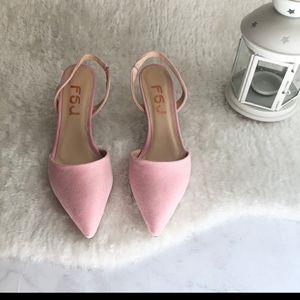 Size 7 Pink Suede Kitten Heel Slingback
